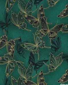 Fancy Flight - Cloisonné Butterflies - Hunter Green/Gold