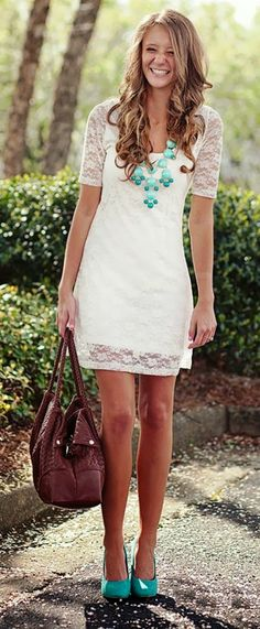 Lovely floral detail lace dress fashion