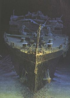Rendition of the Titanic on the bottom of the Atlantic.