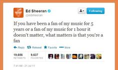 love that tweet, people always compare how long they've been fans .. who cares, as long as you are a fan! (but for all songs, not just the A Team..)