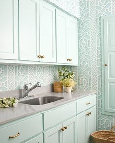 Mint Green Laundry Room Cabinets With Mint Green Trellis Laundry Room Cabinet P. Mint Green Laundry Room Cabinets With Mint Green Trellis Laundry Room Cabinet Pulls Hardware Cabin Grey Laundry Rooms, Laundry Room Cabinets, Laundry Room Organization, Laundry Room Design, Kitchen Cabinets, Small Laundry, Kitchen Design, Kitchen Walls, Kitchen Interior