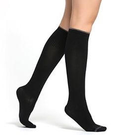 Buttons & Pleats Compression Socks Womens - Pair of Medical Grade Graduated Sock Stockings Black SM