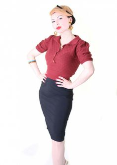 Sugar Shock 40s retro polo collar knit sweater at Suicide Glam