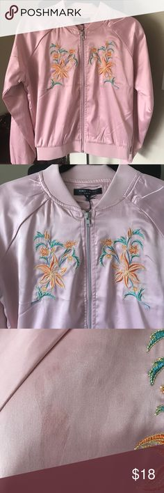 Romeo and Juliet bomber Great bomber in dusty  pink . It is brand new with tags , however there is some stating on one side of the jacket . Please look at the pictures . It is proved accordingly . Romeo & Juliet Couture Jackets & Coats