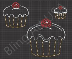 Cupcake Rhinestone Downloads Templates Pattern Sweets Bling Dessert Art Bakery Stone Cupcakes Stencil Cherry On Top System Celebration Sticky Flock Color