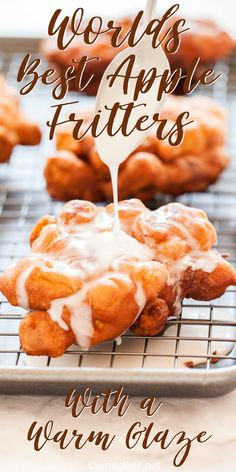 These homemade Apple Fritters are better than any bakery! Light cakey batter and apple pieces make for the perfect donut! Apple Fritters, Homemade Apple Fritters, Homemade Apple Donuts, How to Make Fritters, recipes desserts homemade Köstliche Desserts, Delicious Desserts, Apple Fritter Recipes, Easy Apple Fritters Recipe, Baked Apple Fritters, Apple Fritter Bread, Homemade Donuts, Homemade Breads, Baking Recipes