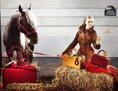 """The Terrier and Lobster: """"Beneath the Parisian Sky"""": Hermes Fall/Winter 2006 Ad Campaign with Stella Tennant, Vlada Roslyakova, and Mathias Lauridsen by Camilla Akrans"""