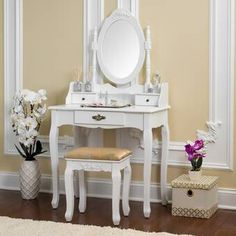 Fineboard Vanity Set with Stool & Mirror Makeup Table with 7 Organization Drawers Single Oval Mirror Make Up Vanity Table Set, White Furniture, Vanity Set With Mirror, Vanity Table Set, Vanity Table, Wooden Vanity, Home Decor, Upholstered Stool, House Of Hampton, Vanity Set