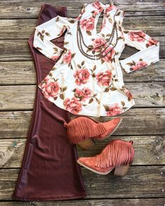 Roses are Rust... this outfit is A MUST!!!!! Darcey Rose Cold Shoulder Choker Tunic $29 S, M & L these are true to size.. nice material >> Crimson faux Leather Bell Bottom Pants $34 S, M & L >> Copper & Ivory Bib Necklace $34 >> Matisse RUST SUEDE FRINGE Lambert Booties $89 SELLING FAST!!! Sizes left in first batch 6, 8, 8.5, 9 & 9.5 >> sizes coming in 2nd batch shipping out Feb 15 are 6, 6.5, 7, 7.5, 8, 8.5, 9 & 9.5 >> SHOP THIS ENTIRE LOOK ONLINE @ www.lilbeesbohemian.com
