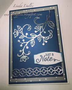 "I needed a quick but elegant card this afternoon, and this is what i came up with!  I just knew i would love the framelits from the ""Flourishing Phrases"" bundle, and i was right!  This is just a piece"