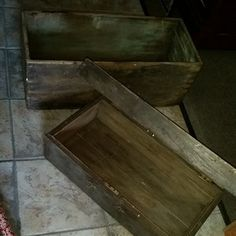 BEFORE - set of vintage wood crates with dovetail construction...as found -
