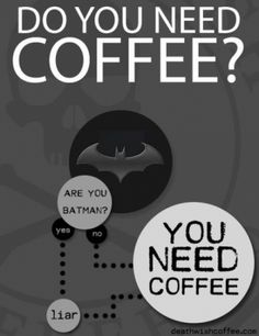 Even Batman needs coffee. He likes it black!