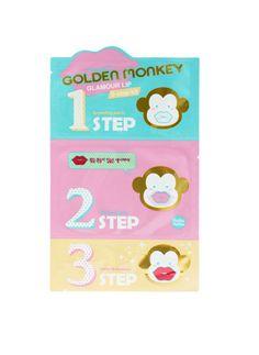 Holika Holika Golden Monkey Glamour Lip 3 Step Kit exfoliates and hydrates your lips