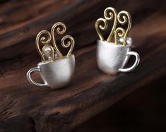 UK 925 Sterling Silver Coffee Mug Stud Earring Jewelry Women Natural Handmade Diamond Jewelry, Gold Jewelry, Women Jewelry, Jewellery, Sterling Silver Earrings Studs, Handmade Sterling Silver, Cute Stud Earrings, Earring Studs, Silver Ring Designs