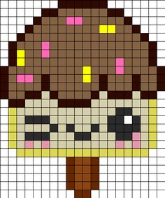 PRINTED Free Kawaii Ice Cream perler hama bead pattern or cross stitch chart Pony Bead Patterns, Kandi Patterns, Pearler Bead Patterns, Perler Patterns, Beading Patterns, Embroidery Patterns, Cross Stitch Patterns, Pixel Art Templates, Perler Bead Templates