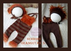 New Born Orangutan Prop bonnet romper by PipsPhotoprops on Etsy