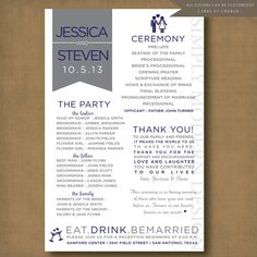 unique and fun wedding program, PRINTABLE #wedding #program #ceremony