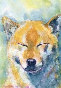 柴犬 水彩イラスト