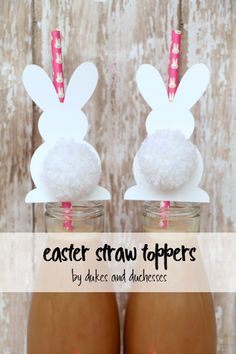 simple easter bunny straw toppers