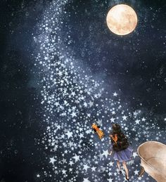 """When the girl receives an invitation from the moon? """"Forest Girl Diary"""" map, poetry is also Meng Meng da-Other-China Social Platforms Article Fantasy Kunst, Fantasy Art, Moon Pictures, Forest Girl, Sun And Stars, Moon Magic, Beautiful Moon, Moon Art, Anime Art Girl"""