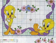 tweety cross stitch pattern with color key  #2