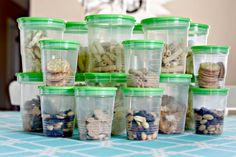 pre-portion your school snacks- keep these in pantry for either lunchboxes or after school snacks.  IHeart Organizing: Back To School Organizing & a Link Party!