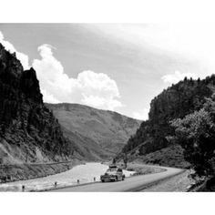 USA Colorado Highway 24 Glenwood Canyon with Colorado River Car driving on road Canvas Art - (18 x 24)