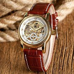 Brown/Black Luxury Genuine Leather Strap Skeleton Sport  Analog Men Women Mechanical Automatic Wrist Watch relogio masculino #Affiliate