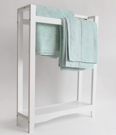 White Freestanding Towel Rail with Shelf aplaceforeverything.co.uk 80h x 60w x 18d cm