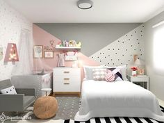 Shared room of super cute Maanuh Scotá and baby Alice., Shared room of super cute Maanuh Scotá and baby Alice. Baby Room Design, Girl Bedroom Designs, Baby Room Decor, Girls Bedroom, Girls Room Paint, Childs Bedroom, Room Baby, Child Room, Bedroom Wall