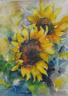 """Daily Paintworks - """"sunflower in JUNE1"""" - Original Fine Art for Sale - © Wenqing Xu"""