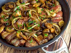 Bacon Wrapped Steak Strips with Mushrooms & Onions | bakeatmidnite.com | #bacon #steak #beef