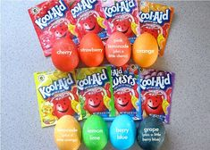 Kool-Aid dyed Easter eggs! Who knew you could do this?  Add 2/3 cup water to a packet of Kool-Aid; no need for vinegar b/c the Kool-Aid has citric acid in the mix! Add a little cherry to pink lemonade for a nice pink, add a little orange to lemonade for a light orange & add a little berry blue to grap for a dark indigo/purple color.