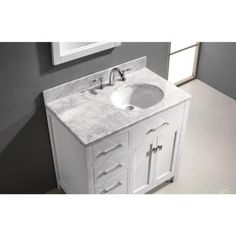 Incroyable H Vanity With Marble Vanity Top In Carrara White With White Round Basin And  Mirror MS 2136L WMRO WH   The Home Depot