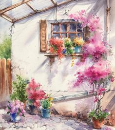 Artist Jung Sook Hyun captures snapshots of the california countryside with her delicate watercolor paintings. Based in Fullerton, her work details the town's quaint streets and eclectic mix of historic buildings, surrounded by agricultural beauty. Watercolor Images, Watercolor Landscape, Watercolor Illustration, Watercolor Ideas, Watercolor Painting Techniques, Watercolour Painting, Painting Inspiration, Art Inspo, Paper Light