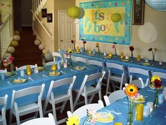 This was the decor I concocted for my sister's baby shower. I was so pleased with how it turned out, and it was definitely a hit. Baby Shower Niño, Shower Set, Baby Shower Parties, Baby Shower Themes, Shower Ideas, Baby Showers, Baby Shower Centerpieces, Baby Shower Decorations, Welcome Home Parties
