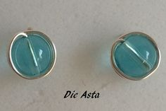 8 mm Silver studs wrapped earrings blue glass silver by lisaastrup