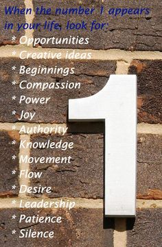 What does the number 1 mean for you in your life?