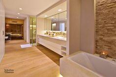 Corner Bathtub, Alcove, Villa, Bathroom, Bath, Timber Flooring, Natural Stones, Luxury, Bathing