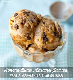 Vegan Treat! Almond Butter, Caramel Swirled, Vanilla Bean-Chocolate Chip Ice Cream