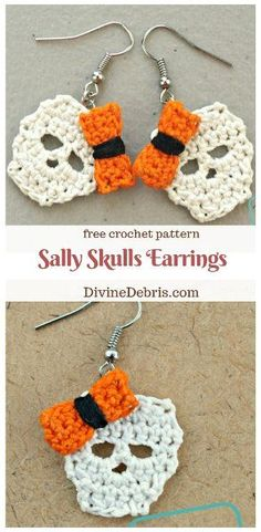 Sally Skulls Earrings - - - They might be a bit ugly but they're the cute kind of ugly, right? This week I'm releasing another in my Sally Skulls line on. Crochet Thread Size 10, Crochet Hook Sizes, Crochet Hooks, Free Crochet, Knit Crochet, Crochet Doilies, Crochet Coaster, Crochet Things, Crochet Pour Halloween