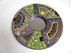 Purple Electric Lime Round Mosaic Mirror - Original Art TheMosartStudio