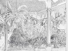 Plumilla del jardín interior de la casona donde es Mi Museo, museo de cerámica precolombina en Granada, Nicaragua.