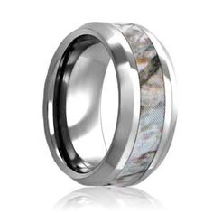 flat 8mm tungsten winter mimicry camo ring with beveled edges camo wedding bandsmen - Mens Camo Wedding Ring