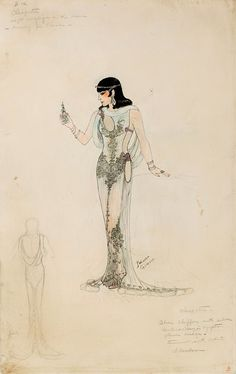 Paloma Gibson costume sketch for Claudette Colbert in Cleopatra (1934)