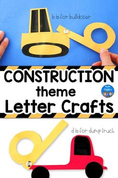 These construction theme letter crafts are interactive and have printable templates for a bulldozer backhoe dump truck crane and excavator. Preschool Craft Activities, Preschool Letters, Preschool Lessons, Alphabet Activities, Toddler Preschool, Teach Preschool, Toddler Activities, Letter B Crafts, Alphabet Crafts