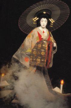 Bando Tamasburo, male kabuki legend // by Kishin Shinoyama.| Tamasaburo is a famous onnagata in Kabuki theatre.  Onnagata are the male actors who portray women (all Kabuki roles are performed by men).