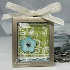 "Simply Adorned 1""x1 1/4"" charm with Fresh Vintage & Triple Flower punch (all retired). Thanks Jill!"