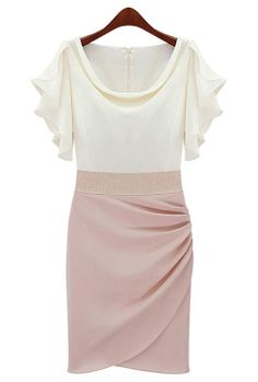Celebration Toast Flutter Sleeve Ruched Tulip Dress in Pink Shimmer  $59.99