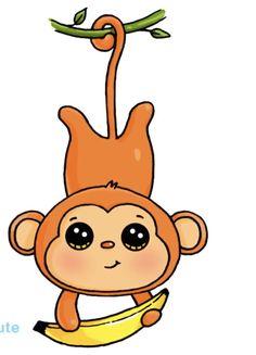 Cute Disney Drawings, Cute Cartoon Drawings, Cute Kawaii Drawings, Cute Animal Drawings, Kawaii Art, Easy Drawings, Monkey Drawing Easy, Cartoon Monkey Drawing, Drawing For Kids